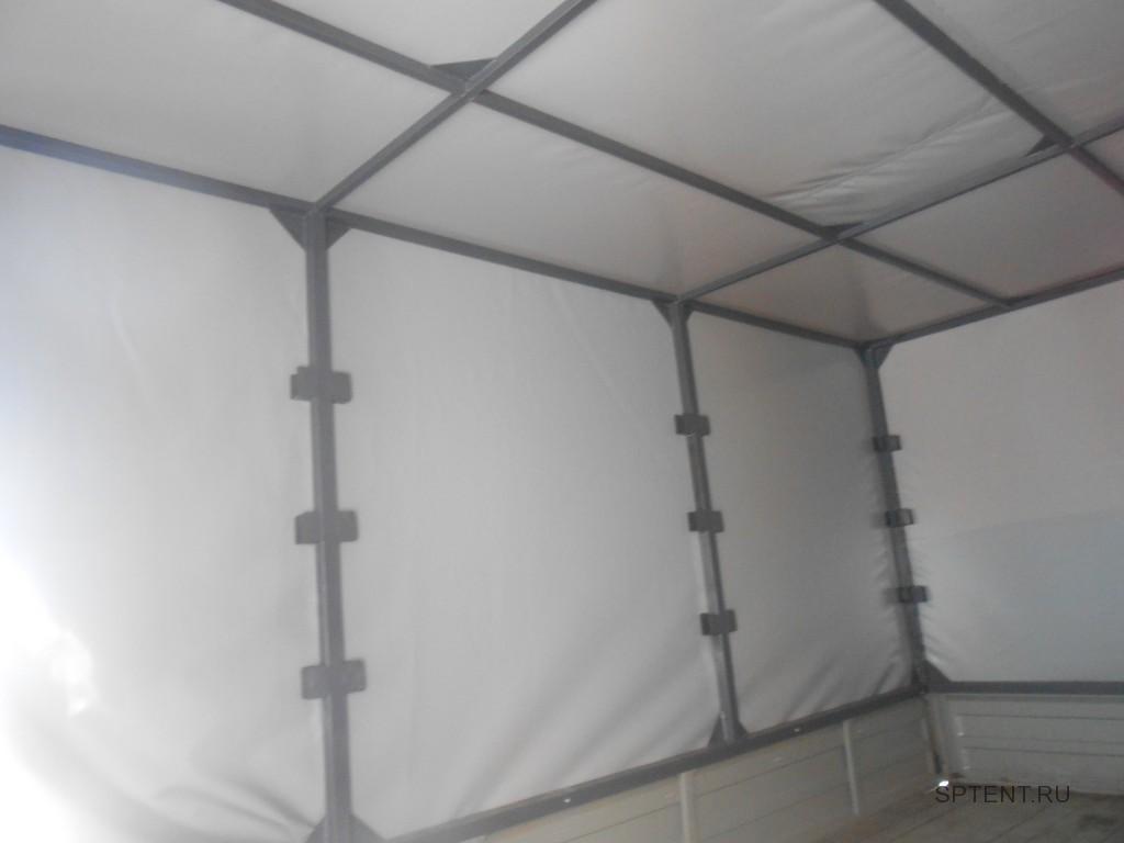Прямоугольный каркас тента Газели изнутри